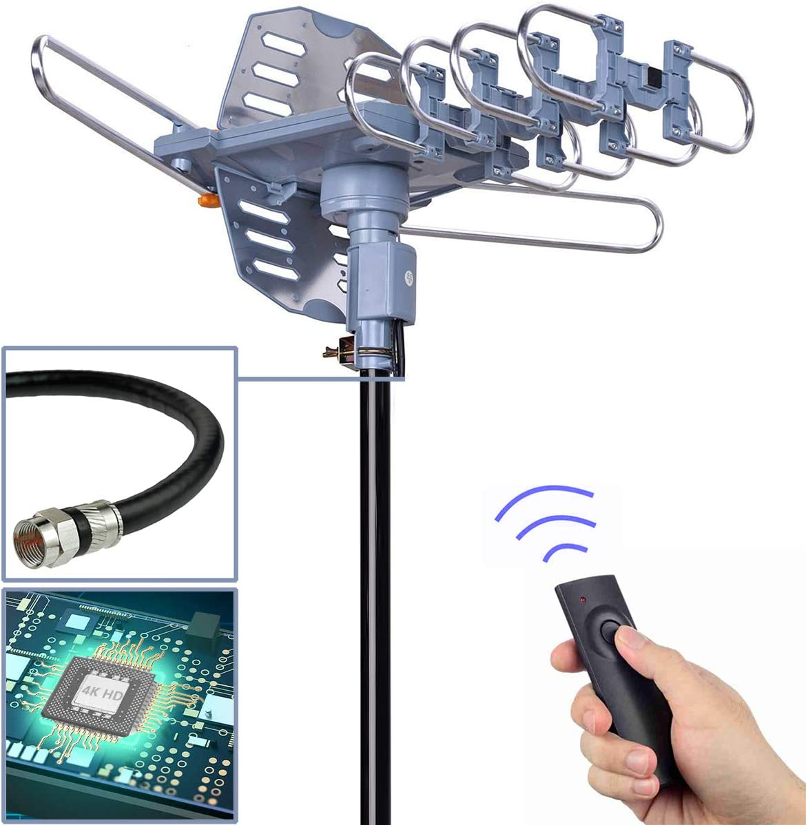 PBD Digital Outdoor TV Antenna, 150 Mile Motorized 360 Degree Rotation Support 2 TVs, Mounting Pole,