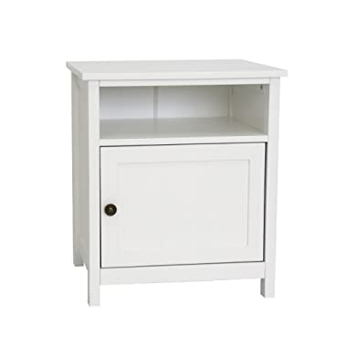 Kinbor Bedroom Furniture Night Stand Table Cabinet for Storage (White 2)
