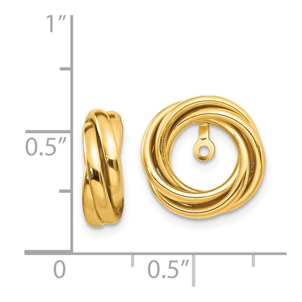 14K Yellow Gold Polished Love Knot Earring Jackets
