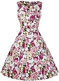 OWIN Women's Vintage 1950's Floral Spring Garden Picnic Dress Party Cocktail Dress (XXL, Chrysanthemum)