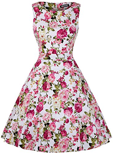 OWIN Women's Vintage 1950's Floral Spring Garden Picnic Dress Party Cocktail Dress (XXL, Chrysanthemum)