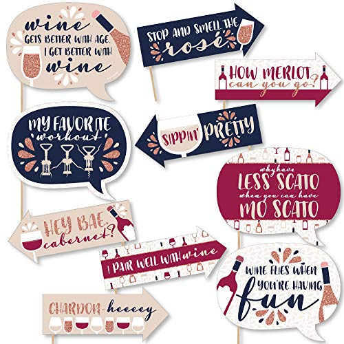 Funny But First, Wine - Wine Tasting Party Photo Booth Props Kit - 10 Piece
