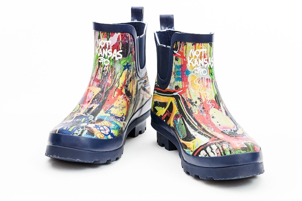 Hollenberg Bros Womens Graffiti Ankle Rain Boots! Perfect for Spring! (8)
