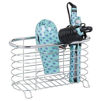 mDesign Soporte para secador de pelo sin taladro - Práctico organizador de baño en cesto de rejilla - Estante multifunción para secador, rizador eléctrico y ...