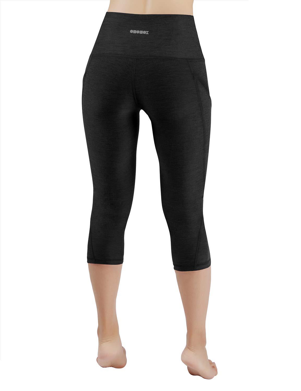 ODODOS High Waist Out Pocket Yoga Capris Pants Tummy Control Workout Running 4 Way Stretch Yoga Leggings,Black,X-Small by ODODOS (Image #3)