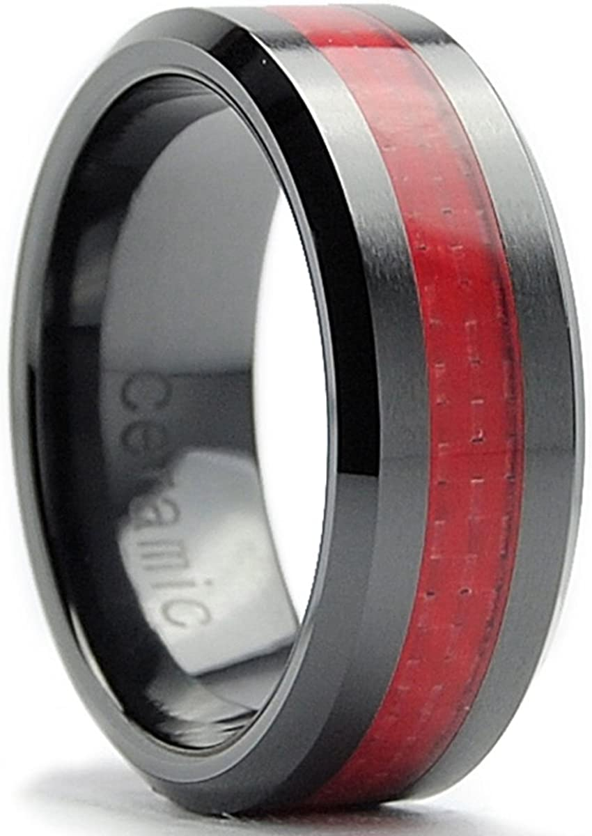 8MM Flat Top Men's Black Ceramic Ring Wedding Band with Red Carbon Fiber Inaly Sizes 5 to 15