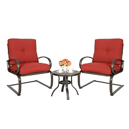 Ulax furniture 3 Pcs Outdoor Bistro Set Patio Springs Action Chairs Conversation Set with Cushions red