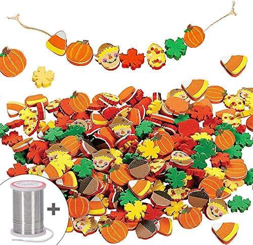 500 Halloween Foam Beads Shapes Crafts for Crafts & Jewelry Making – 500 Pcs – Halloween Thanksgiving Fall Crafts | Pumpkin, Acorn, Leaves, Candy Corn Shapes by 4E's Novelty