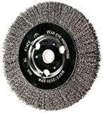 PFERD 81427P Unthreaded Standard Face Bench Economy Power Crimped Wheel Brush with Adapter, Round Hole, Carbon Steel Bristles, 8'' Diameter, 0.014'' Wire Size, 1-1/4'' Arbor, 6000 Maximum RPM (Retail Pack of 5)