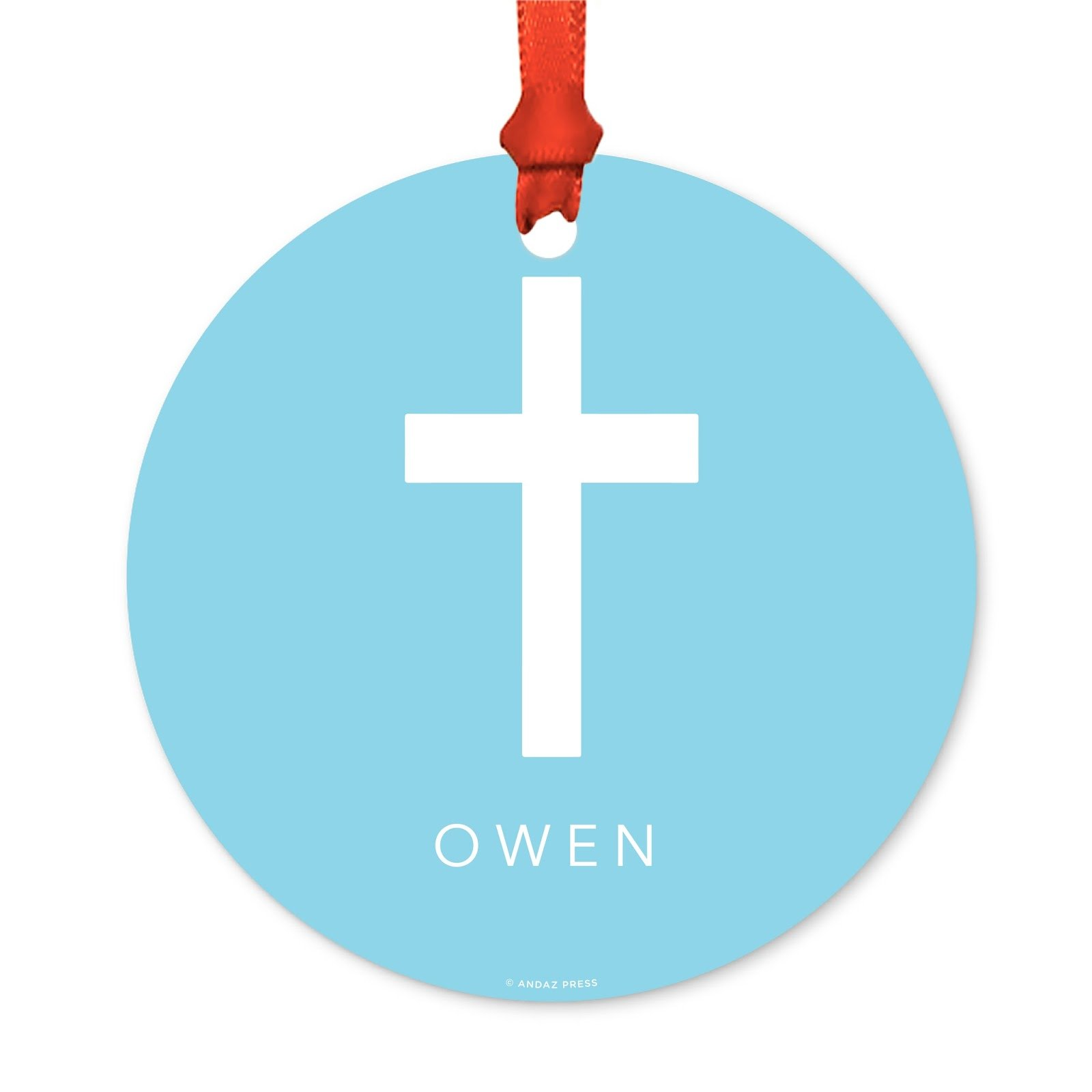 Andaz Press Fully Personalized Metal Christmas Ornament, Christian Cross, Blue, 1-Pack, Includes Ribbon and Gift Bag, Custom Name