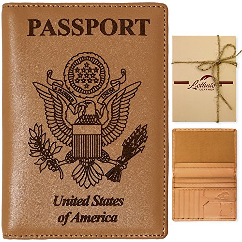 Lethnic Leather Passport Holder Wallet Cover Case RFID Blocking Travel Wallet (USA) (Tan Brown)