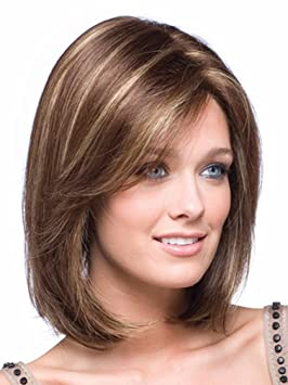 Kalyss Women S Short Bob Style Straight Brown With Blonde Highlights