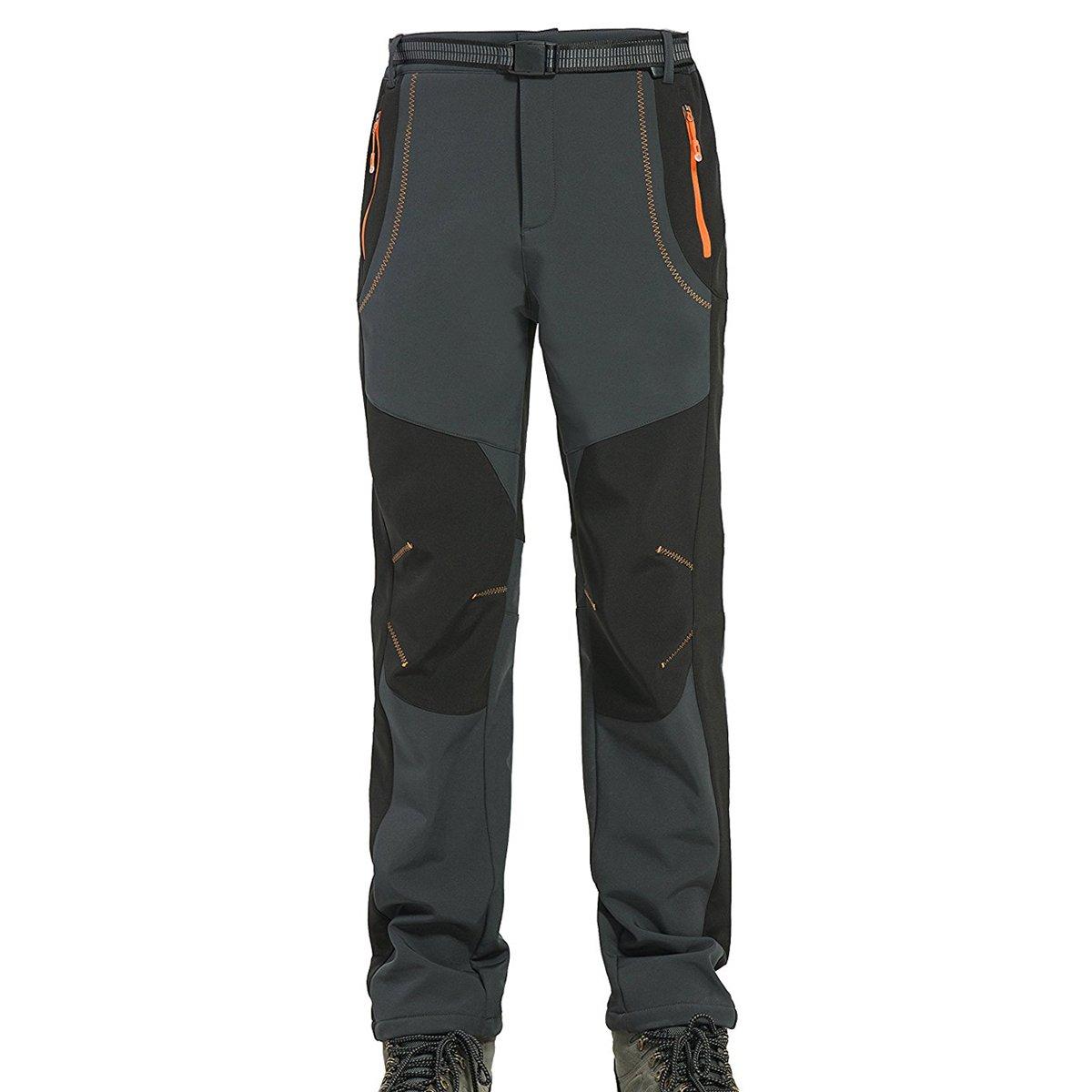 Facecozy Men's Outdoor Snow Ski Waterproof Soft Shell Pants Male Hiking Fleece Lined Trousers