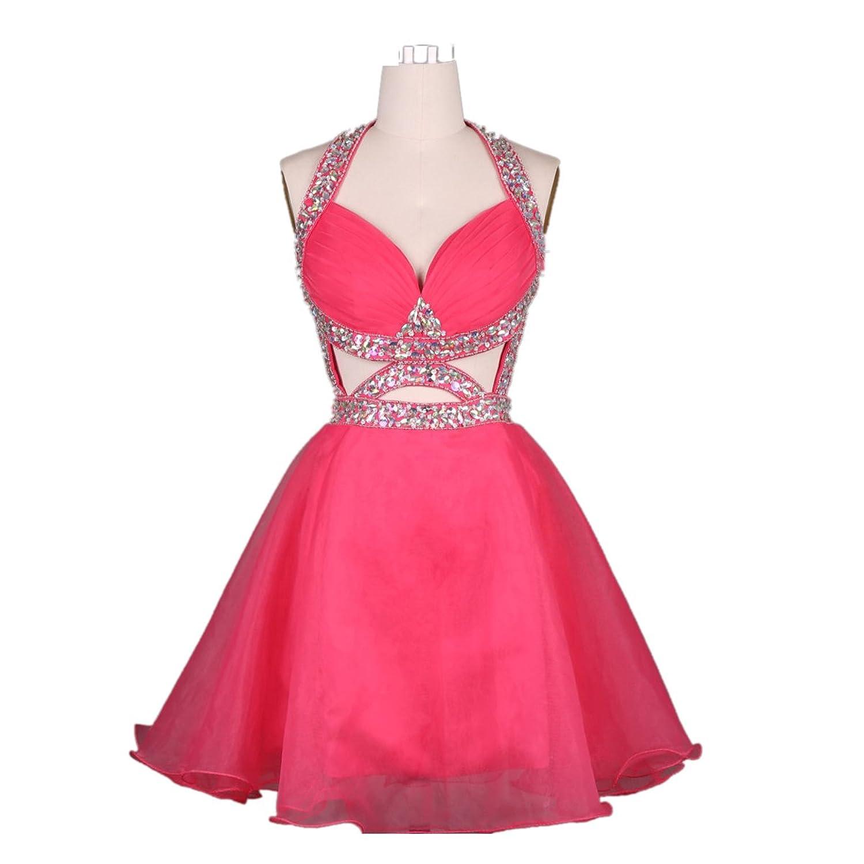 Felaladress@ Hot Pink Backless Crystal Short Prom Dress Homecoming Dress
