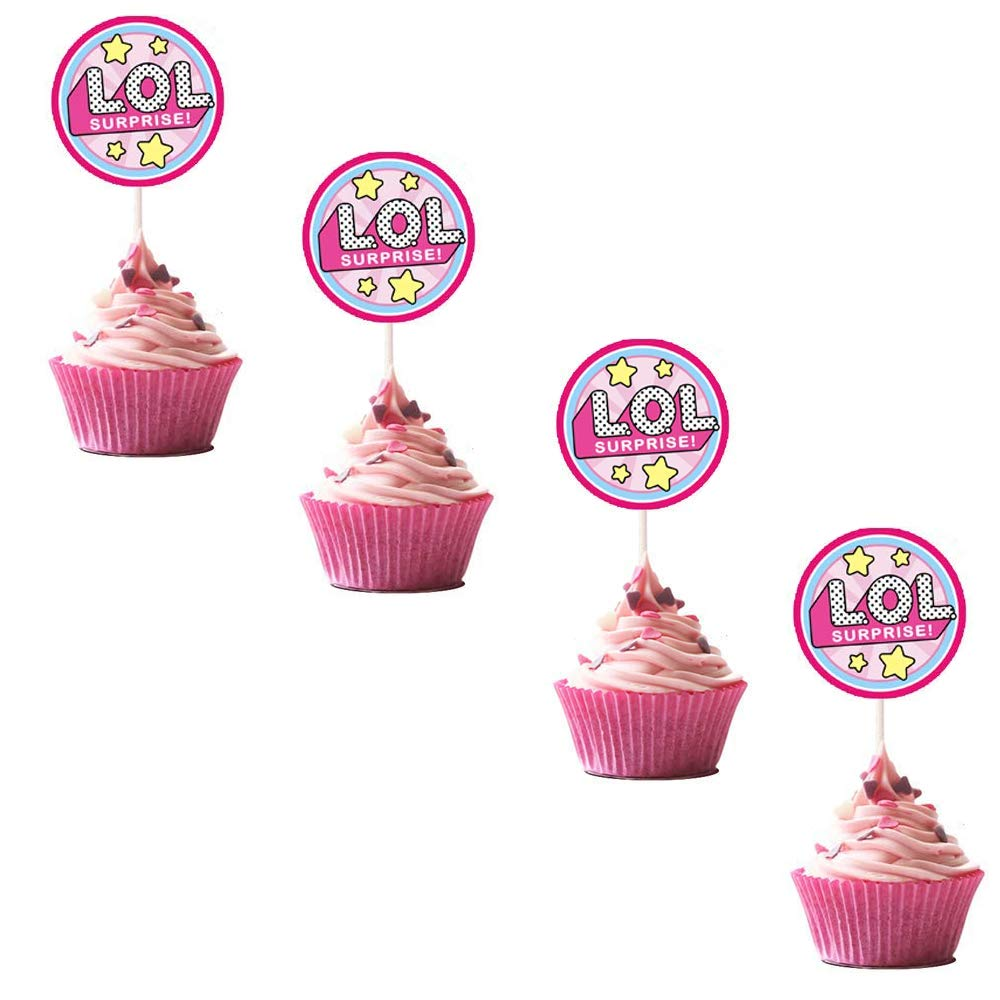 LOL Cupcake Toppers Girls Topper Set, Decorations for 1st Birthday Theme Party - 4 Count
