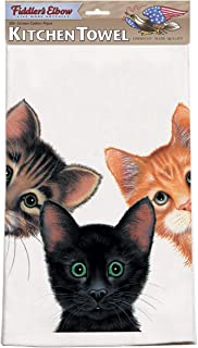 "product image for Fiddler's Elbow Peeping Toms 3 Cats Kitchen Towel | 100% Cotton XL Kitchen Towel 22"" X 32"" 