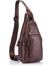 Men Genuine Leather Chest Bag, Crossbody Shoulder Bag Sling Bags Backpack Messenger Bag Daypack For Business Casual Sport Hiking Travel Brown