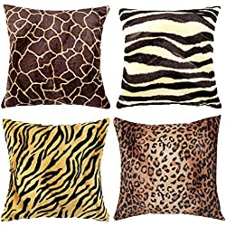 "WOMHOPE 4 Pack - 18"" x 18"" Short Faux Fur Cushion Decorative Pillow Covers Animal Theme Print Style Square Throw Pillowcase Cushion Covers for Sofa,Bed,Chair,Auto Seat (F(Set of 4))"