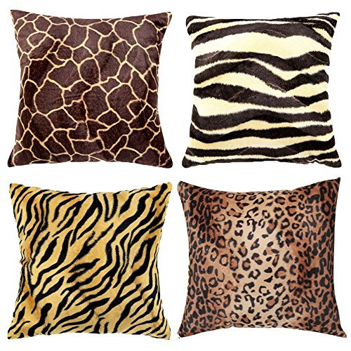 """WOMHOPE 4 Pack - 18"""" x 18"""" Short Faux Fur Cushion Decorative Pillow Covers Animal Theme Print Style Square Throw Pillowcase Cushion Covers for Sofa,Bed,Chair,Auto Seat (F(Set of 4))"""