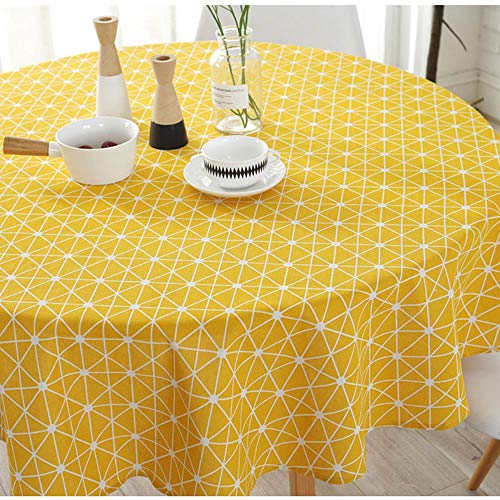 - Lahome Geometric Series Pattern Tablecloth - Cotton Linen Round Table Cover Kitchen Dining Room Restaurant Party Decoration (Yellow Chessboard, Round - 60