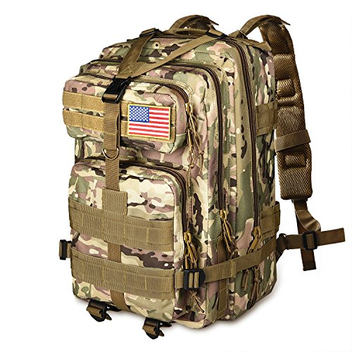 - NOOLA 40L Military Tactical Army Backpack 3 Day Pack Molle Bag Backpack Rucksacks for Outdoor Hiking Camping Trekking Hunting with Flag Patch CP