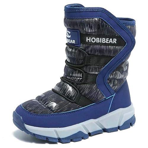 Botas de Invierno para Niñas Botas de Nieve Niño Calentar Forrada de Piel Plano Slouch Botines Niño Zapatos Botas de Esqui Comodidad Negros Azul 24-39: ...