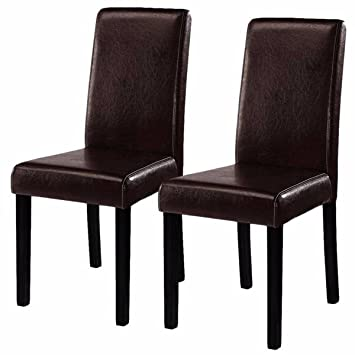 costway elegant design leather modern dining chairs room furniture urban style solid wood leatherette padded parson brown solid wood furniture