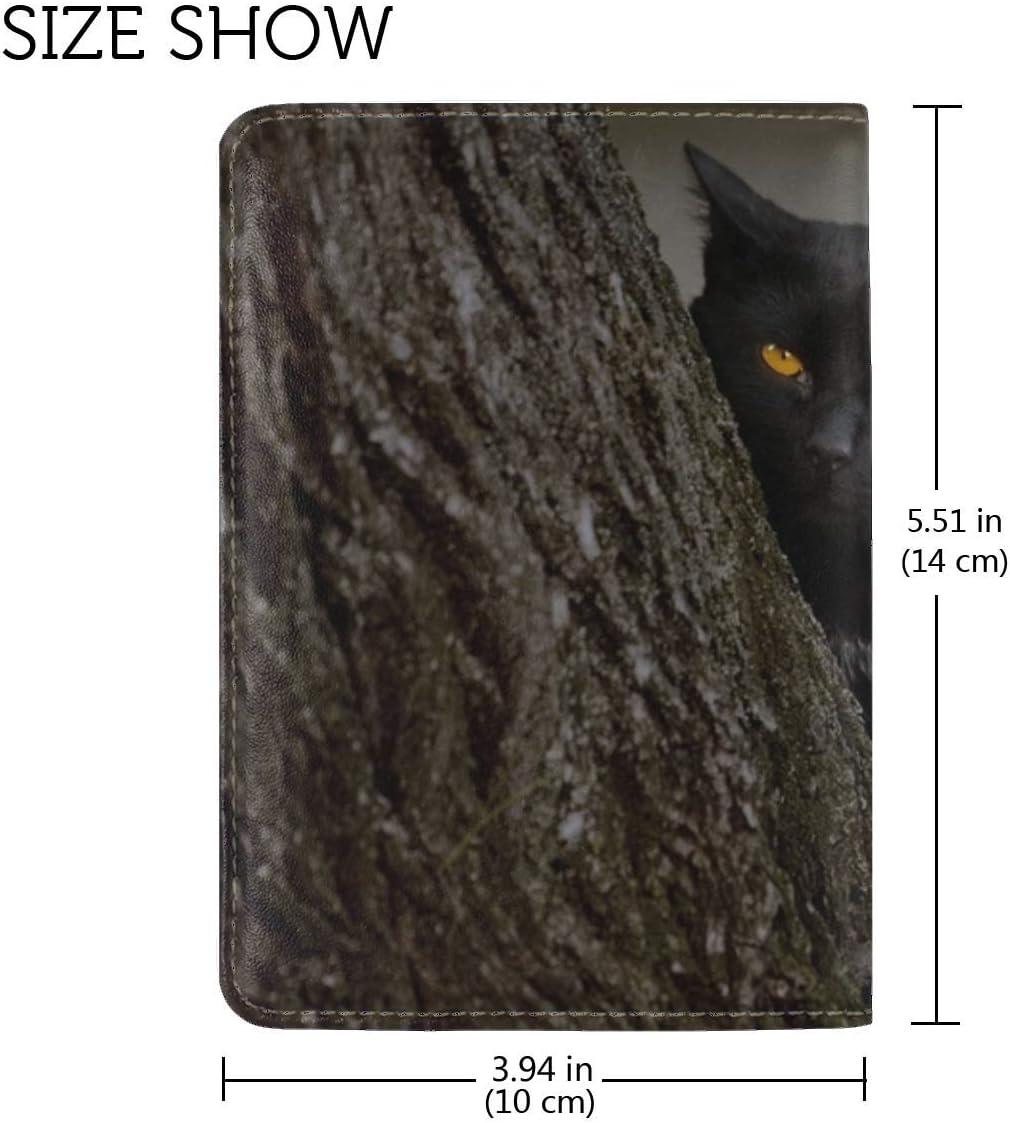 Cat Dark Wood Hide Bark Grass Leather Passport Holder Cover Case Travel One Pocket
