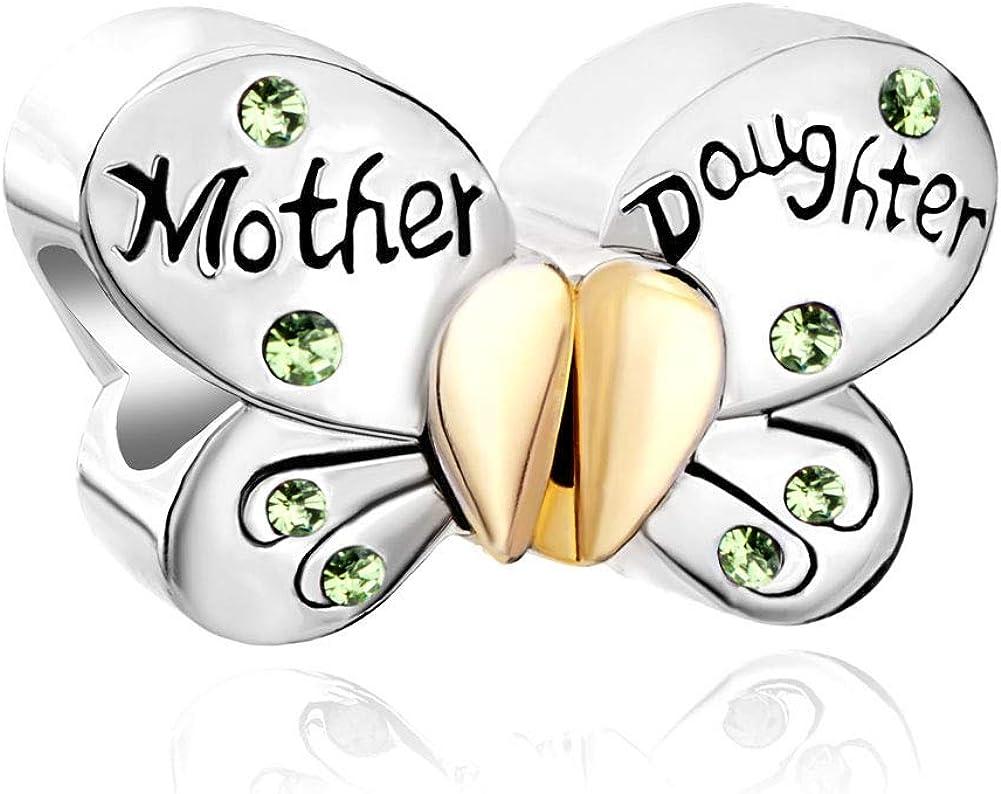 Poetic Charms farfalla 925/Ciondolo in argento Sterling cuore amore Madre Figlia cristallo Bead per bracciale