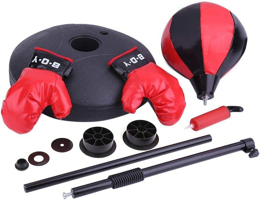 Bomba de Mano Altura Ajustable Soporte 60-100cm Alto Guantes de Boxeo LIOOBO Juego de Bolas de Boxeo con Bola de perforaci/ón