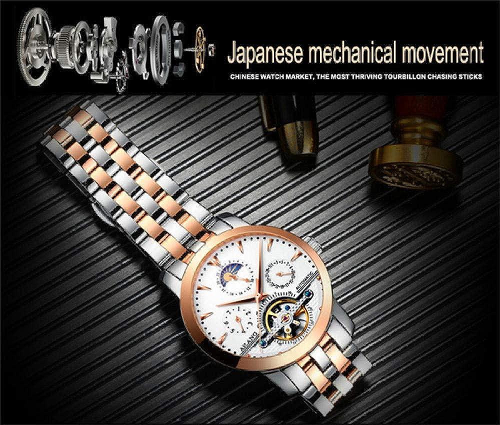 AIZHIJIA Orologi Da Uomo Skeleton Tourbillion Mechaniccal Watches Wind Orologio Da Polso Meccanico In Acciaio Inossidabile Black Silver