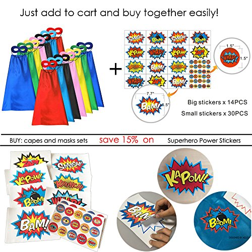 Superhero Capes and Masks for Kids Bulk - DIY Children Capes for Birthday Party - 14sets(28pcs) by ADJOY (Image #6)
