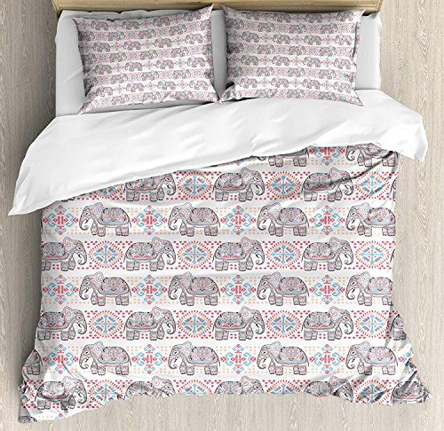 Duvet Cover Set Elephant Elephant Figures with Rich Tribal Ornaments Boho Mexican Details Folkloric Retro Ultra Soft Durable Twill Plush 4 Pcs Bedding Sets for Childrens/Kids/Teens/Adults Twin Size by BABE MAPS