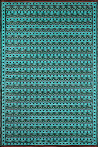 (Mad Mats Uber Turk Indoor/Outdoor Floor Mat, 6 by 9-Feet, Black Aqua)
