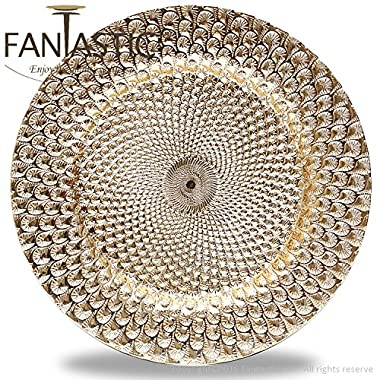 Fantastic:)™ 6pcs/Set New Claassic Design Round 13 x13  Charger Plates with Shinny Finish (Peacock Gold)