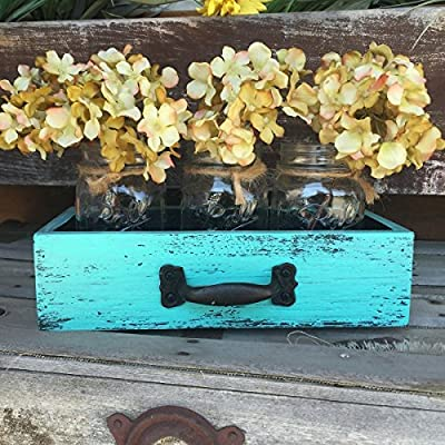 Mason Canning JARS in Wood DRAWER with 3 Ball Pint Jar Distressed Rustic Kitchen Table Centerpiece Mint Caribbean Blue Black Handle 11.5 X 6 X 3 Wooden Antique Blue Rectangle Box (Optional Flowers)