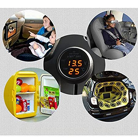 Rot 3in1 Digital Voltmeter Thermometer 12 24V Zigarettenanz/ünder USB Car