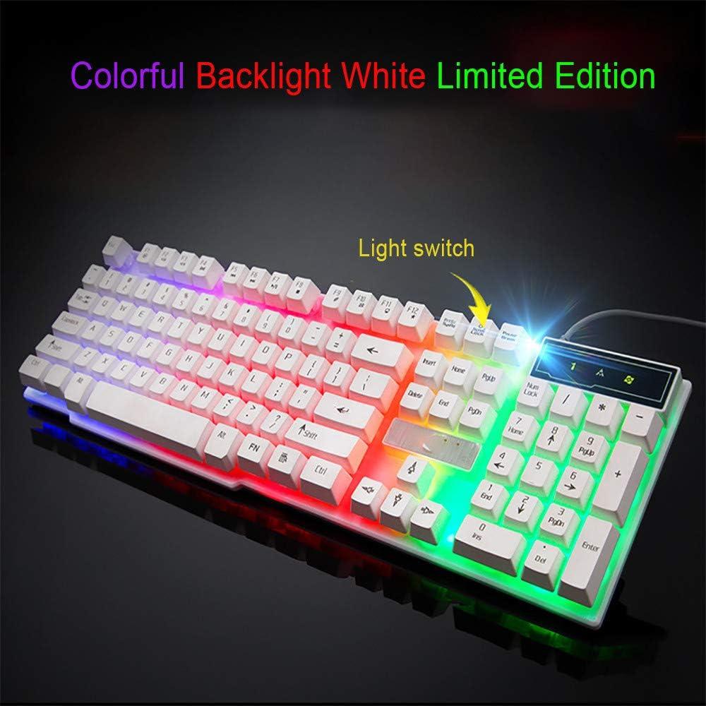 A Colorful Crack LED Illuminated Backlit USB Wired PC Rainbow Gaming Keyboard