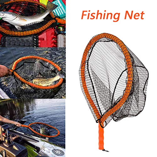 (Fine Fishing Net, Durable Nylon Material Mesh Rubber Material Mesh Portable Light and Easy to Carry Safe Fish Catching Trout Boating Fishing (Black))