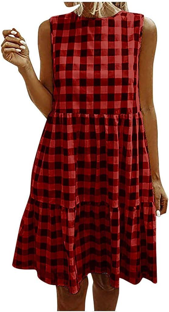 riou Vestidos Mujer Verano 2020 Cortos Impresión a Cuadros Casual Mini Vestido Suelto Cuello Redondo Vestidos Playa Diariamente Vacaciones
