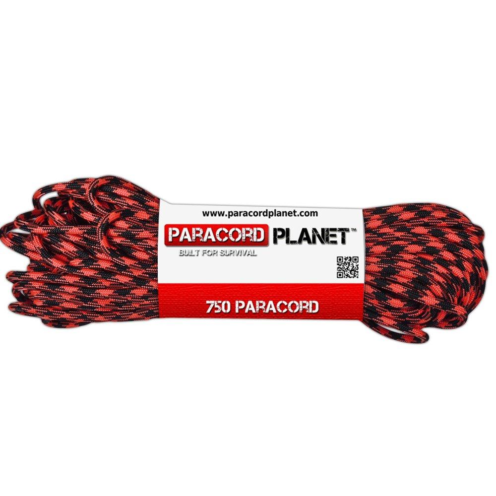PARACORD PLANET 750 LB Type IV Paracord Authentic Parachute Cord 11 Core Inner Strands Minimum Break Strength 750 lb 10, 25, 50, 100 Foot Hanks, 250, 1000 Foot Spools (Black Widow, 10 Feet)