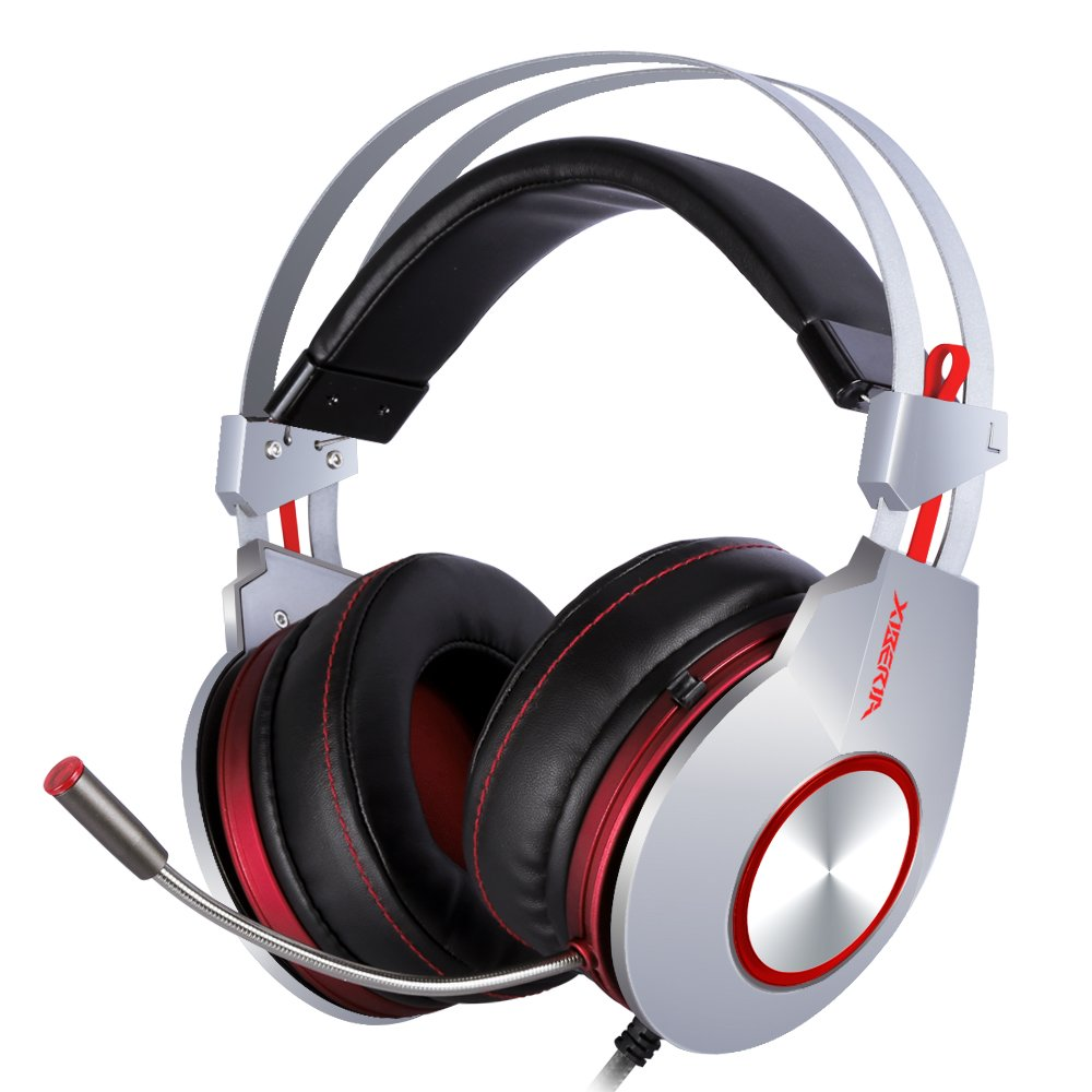 XIBERIA PS4 Gaming Headset, 3.5mm Wired with Microphone for PC Over Ear Wired Stereo Computer Headphones, Volume Control Enhanced Bass Noise Canceling Flexible Headband with LED for PC Laptop by XIBERIA (Image #1)