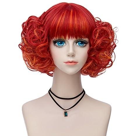Lisanyeu Charming Lady Discoball - Peluca para disfraz o cosplay, color rojo