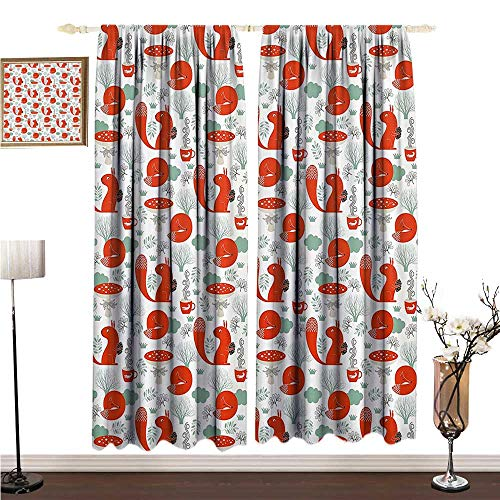 Flowers Squirrel Proof (Anshesix Printed Curtain Animal Cute Fox and Squirrel in The Garden with Tree Leaf Flower Figures Illustration W96 xL72 Mildew-Proof Polyester Fabric)