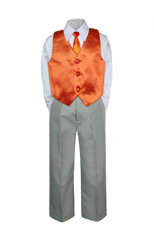 4pc Formal Baby Teen Boy Orange Vest Necktie Set Silver Pants Suit S-7 7