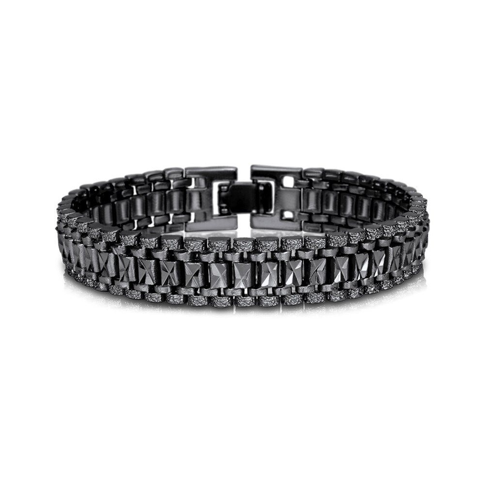 Teen Boys Wristchain Bracelet 19CM Long 12MM Wide Black Gun Plated Cool Masculine