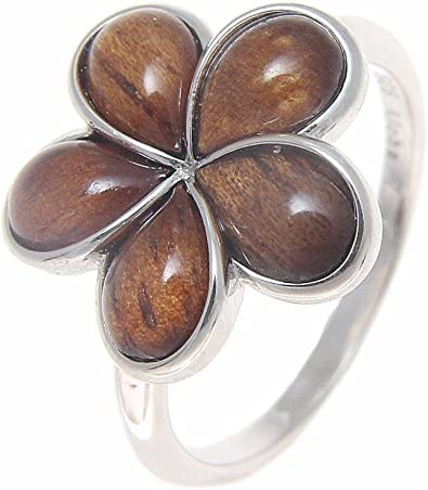 15MM SILVER 925 HAWAIIAN RING PLUMERIA FLOWER SCROLL CUT OUT