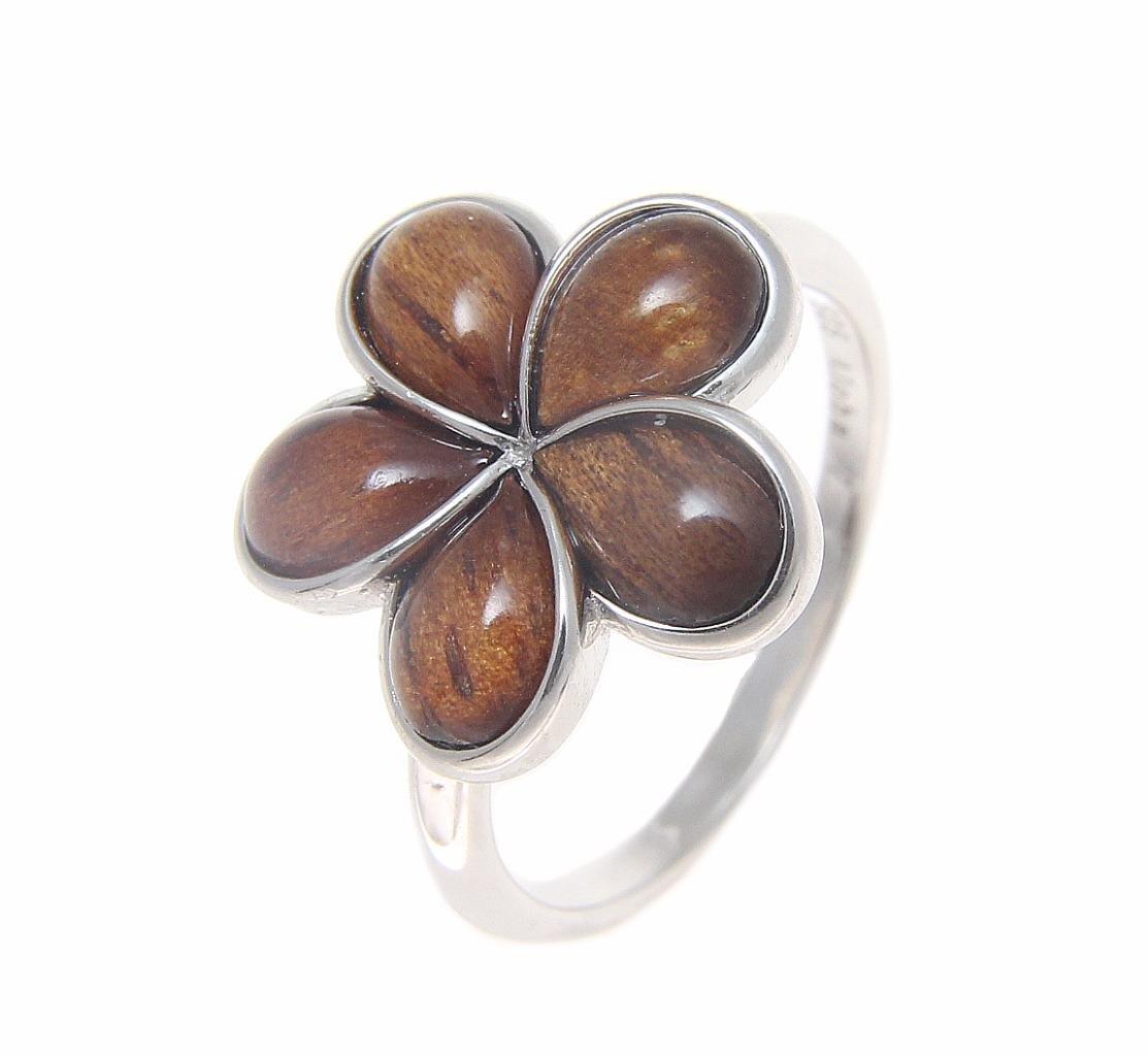 Genuine Hawaiian koa wood plumeria flower ring 15mm sterling silver 925 size 8
