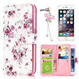 iPhone 5 / iPhone 5S Case, Sunroyal Slim Floral Peony Pattern PU Leather Wallet Flip Stand Cover with ID Card Pockets Built-in 9 Card Slots & Anti-dust Plug Bubble-Free Tempered Glass Screen Protector