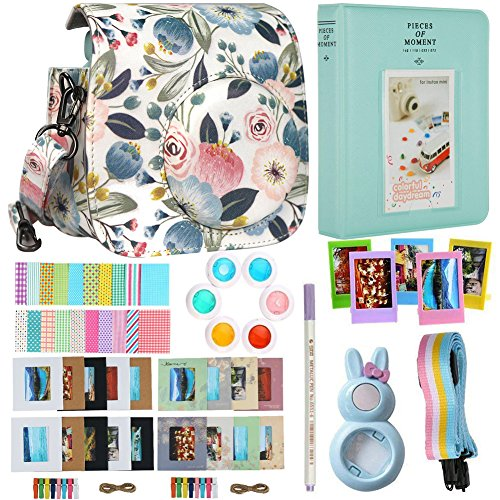 Alohallo Instax Mini 9 Mini 8 Mini 8 + Accessories for FujiFilm Instax Mini 8/8+/ 9 Instant Film Camera with Camera Case/Lens / Mini Album/Color Frame/Sticker / Strap/Pens/ Filter (Flower 1)